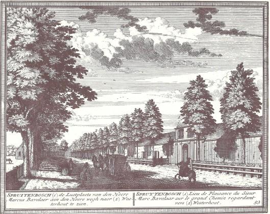 De hofstede Spruitenbosch, lustplaats van de heer Marcus Bavelaar. Gegraveerd door Hendrik de Leth, 1730