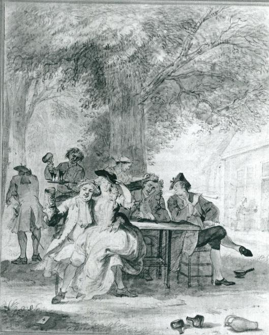 'Een feestje in de Hout'. Tekening met krijt en O.I. inkt getekend door Cornelis Troost.