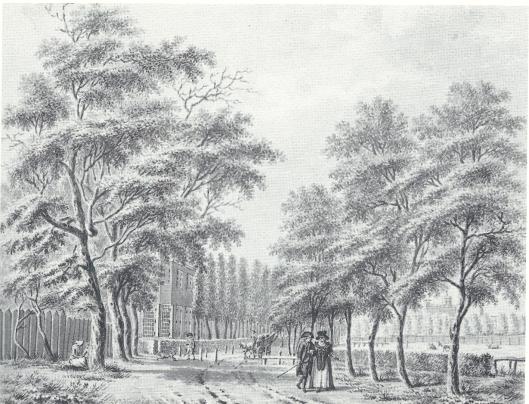 De Gasthuislaan met links Zuiderhout, getekend door W.Horstink in 1789 (NHA)