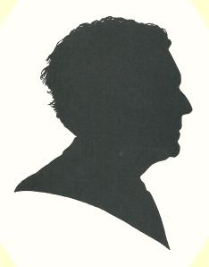 Silhouet en profil van Jan Keyser, in 1995 getekend door Pieter Wetselaar.