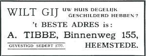 Advertentie Schildersbedrijf Tibbe, Binnenweg 155 (1931)