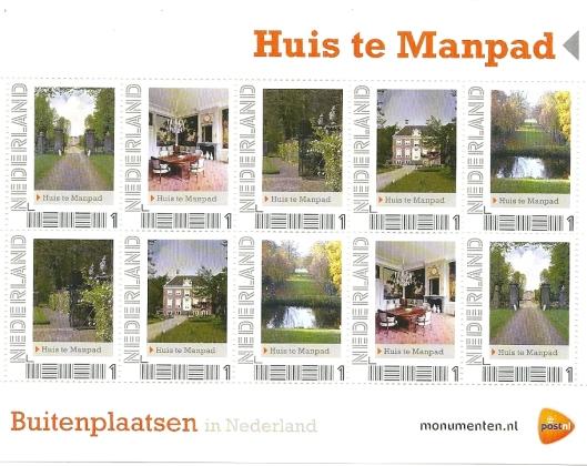 Postzegelvelletje: buitenplaatsen in Nederland: Huis te Manpad, Heemstede (2012)