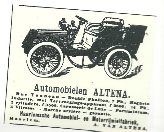 Advertentie van Haarlemsche Automobiel- en Motorrijwielfabriek A.van Altena
