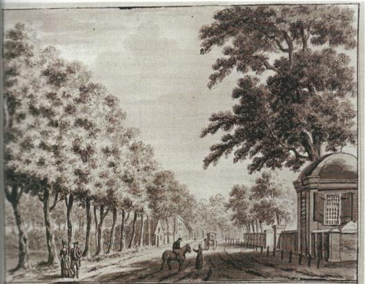 De koepel van Oud Berkenro(e)de en links herberg de Dorstige Kuil op een tekening van Aart Schouman uit circa 1750