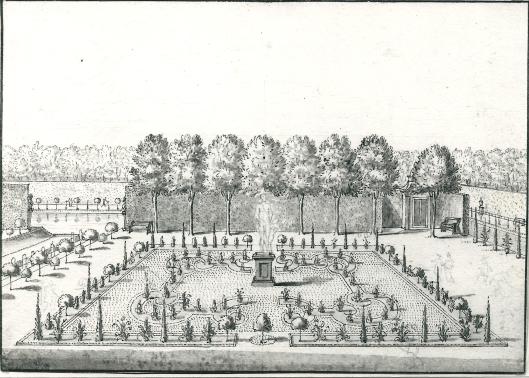 Gezicht op het park van Westermeer met in het midden een groot beeld (N.H.Archief)