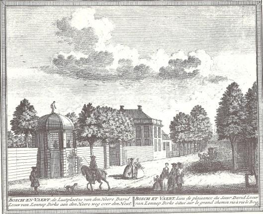 De hofstede Bosch en Vaart, de lustplaats van David Leeuw van Lennep. Kopergravure door Hendrik de Leth, 1730.