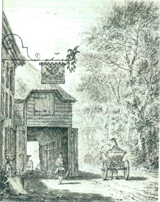 'Aan de Dorstige Kuijl gekoomen zijnde vernaame wij enige ruijterij, daar wij een wijnig halte hielden...'aldus Anthoni van der Hem in zijn beschrijving van de tocht der burgergecommitteerden naar Den haag op 3 januari 1750. Deze tekening is van Simon Fokke (1714-1784) uit 1761. De Dorstige Kuil was een vermaarde herberg, gelegen aan de Herenweg, even ten Zuiden van de Koediefslaan, op het grondgebied van Heemstede. De herberg was eigendom van de bezitters van Oud-Berkenrode, Amsterdamse regenten die met zetbazen werkten. Aan het eind van de 18e eeuw is de herberg omgevormd tot hofstede Kennemeroord. (J.A.F.de Jongste)