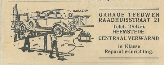 Adv. garage Teeuwen, Raadhuisstraat 21, Heemstede, 1940