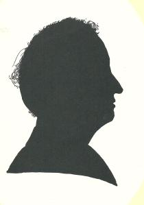 Silhouet en profil van Hans Krol, in 1995 getekend door Pieter Wetselaar