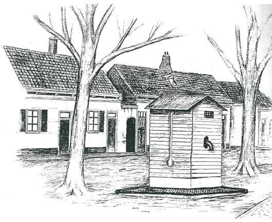 Kopie van krijttekening van de waterpomp met een houtem ombouw aan het Pleintje in de Raadhuisstraat. In 1916 ook miniem afgebeeld op een prentbriefkaart.