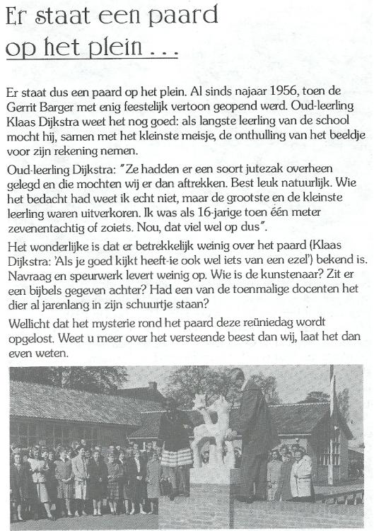 Oproep in reünieboekje Gerrit Bargerschool Heemstede, 5 juni 1993.