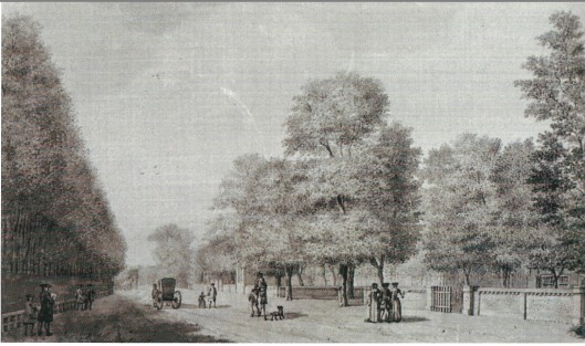 Nog een tekening van de ingang van Berkenrode, getekend door Jan Vincentszoon van der Vinne in 1780