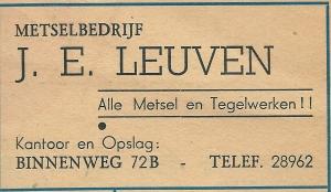 Advertentie metselbedrijf J.E.Leuven, Binnenweg 72b Heemstede uit 1948