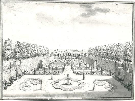De tuin van Westermeer met een vergezicht op het Haarlemmermeer. Tekening van H.de Leth (N.H.Archief)