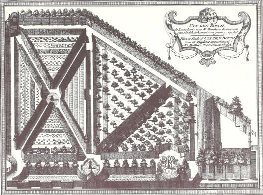 Plattegrond van Uit den Bosch; kopergravure door Hendrik de Leth, circa 1730