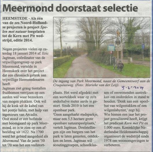 Meermond doorstaat selectie project 'Spelen met natuur' uit: de Heemsteedse Courant van 5 februari 2014.