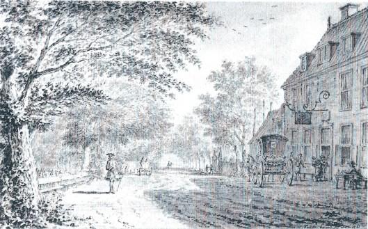 Simon Fokke was in de jaren rond 1760 een frekwent bezoeker van de Dorstige Kuil en vervaardigde deze tekening in 1761