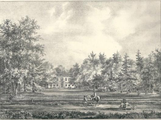 Bosch en Hoven, in eigendom van Jb Willink. Steendruk van P.J.Lutgers