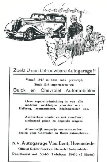 Advertentie Garage van Lent uit 1935