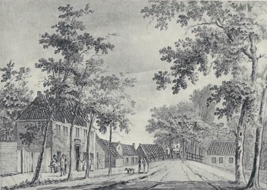 Het Wees- en Armhuis te Heemstede nabij de IJzeren Brug op een tekening van P.van Loo, 1768 - lag aan de westkant van de Raadhuisstraat, even voorbij het pand 'de Eerste Aanleg' dat uit 1895 dateert