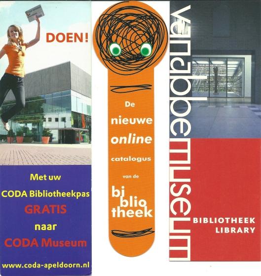 V.l.n.r. 1) Coda-Apeldoorn; online catalogus bibliotheek; bibliotheek Van Abbemuseum Eindhoven