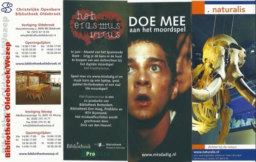 V.l.n.r.: bibliotheek Oldebroek; 2 x moordspel het Erasmus virus (ProBiblio/Bibliotheek Rotterdam); Naturalis Leiden