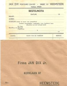 Nota van Jan Dix, Heemsteedse Dreef 121, Heemstede + enveloppe van firma Jan Dix Jr., Kerklaan 97