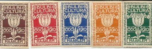Vijf in 1910 uitgegeven sluitzegels: 'Bulbu Cultura' 1860-1910, bij gelegemnheid van bloemententoonstelling in haarlem