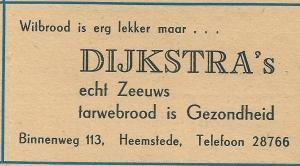 Advertentie bakkerij Dijkstra, Binnenweg 113 Heemstede uit 1948