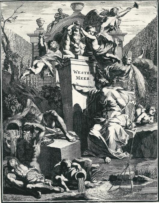 Titelprent door J.Wandelaar in: 'Westermeer. Lusthof van den heere Jacob Fruyt, bij Heemsteê, buyten Haarlem door Willem van der Hoeven, 1721 (Koninklijke Bibliotheek Den Haag)