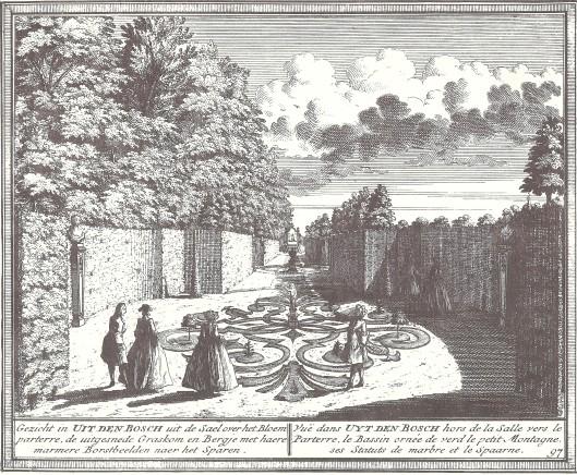 Gezicht op het park van Uit den Bosch. Gravure door Hendrik de Leth, ca. 1730