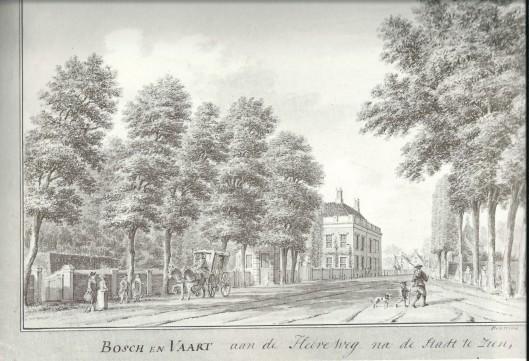 Bosch en Vaart 'aan de Heereweg na de stadt te zien' Tekening van Hendrik Spilman, zuidoostzijde en Wagenweg ziende naar het Noorden, circa 1760