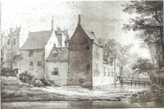 Het herstelde kasteel Berkenrode, in 1647 getekend door Roeland Roghman