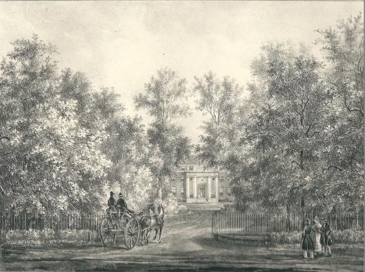 De hofstede Spaar en Hout. Litho P.J.Lutgers, 1842