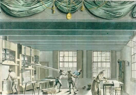 Drie linnenpersen met rechts jaartal 1591 en wapen van Haarlem; midden: 1794 1/29. De rechterpers kwam via Rookmaker bij Peeperkorn aan de Blekersvaartweg. Tekening Joseph