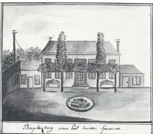 Gewassen pentekening van de tuinzijde van buitenplaats Buitenzorg aan het Zuider Spaarne, na 1810 gesloopt (NHA)