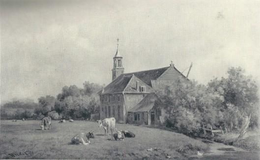 De voormalige Rooms-Katholieke Kerk Berkenrode aan de westzijde van de Herenweg, geschilderd door Willem Vester.