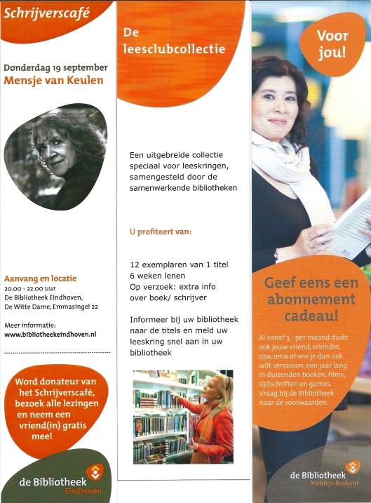 V.l.n.r.: Schrijverscafé met Mensje van Keulen in bibliotheek Eindhoven; leesclubcollectie; bibliotheek Midden-Brabant