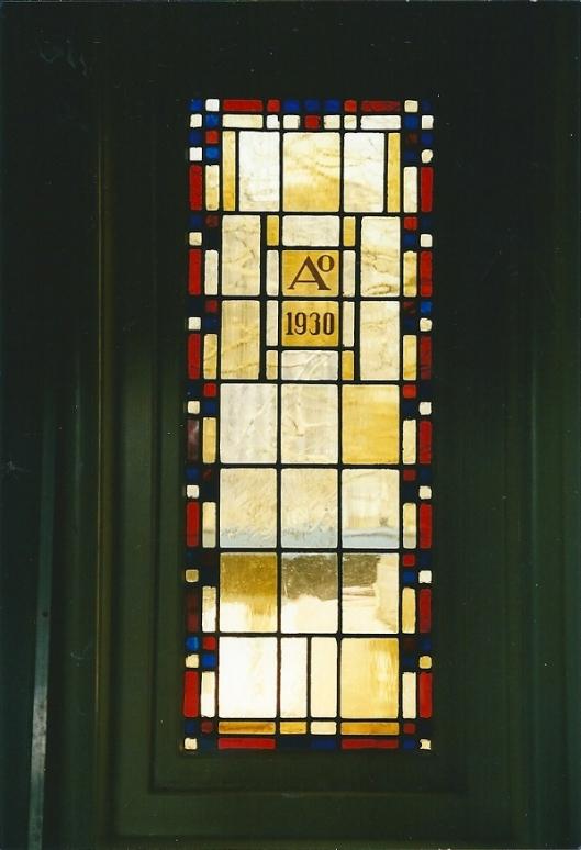 Idem glas-in-lood raam in vm. Dreefschool, sinds 1986 openbare bibliotheek Heemstede