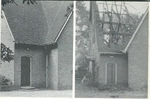 De Gereformeerde kerk van Bennebroek voor en na de brand van 1981. Het kerkgebouw ging verloren, de pastorie bleef behouden