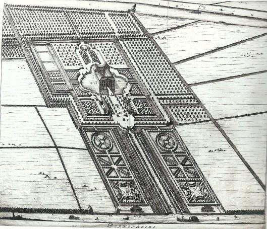 Vermoedelijk slechts ten dele uitgevoerde geometrische tuinaanleg, omstreeks 1712 vervaardigd door S.Stopendaal. Vooraan de Herenweg, helemaal boven de Leidsevaart.