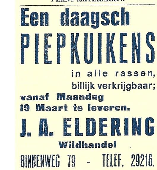 Advertentie wildhandel J.A.Eldering uit De Nieuwe Meerbode, circa 1950.