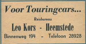 Advertentie touringcarbedrijf Leo Kors uit 1948