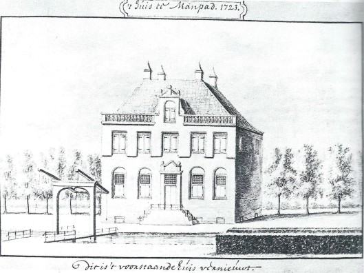 Tekening door A.Rademaker van Huis te Manpad met ophaalbrug uit 1723