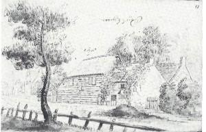 Het Dronkenhuisje aan de Wagenweg/Herenweg, in 1650 geschetst door Jacob de Wet.