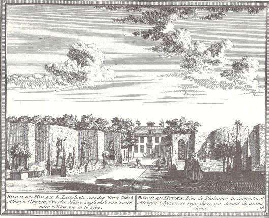 Bosch en Hoven, de lusthof van Jacob Alewijn Ghijsen; gravure van Hemdrik de Leth, circa 1730