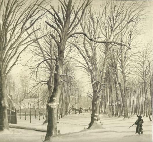 Wijbrant Hendriks: den Hout, bij de Kleine Houtweg in de sneeuw, 1794 (N.H.Archief)