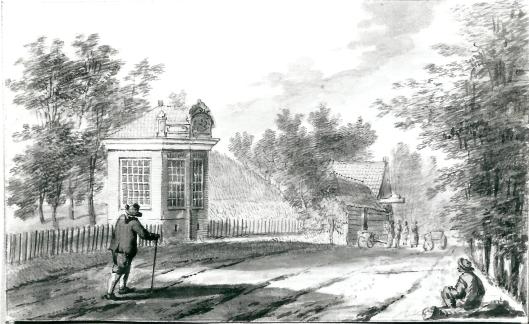 Herenweg bij herberg de Konijnenberg op een 18e eeuwse tekening (NHA)