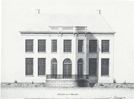Ontwerp van architect P.E.Duyvené uit 1789/1790 voor Jan Anabias Willink van een nieuw Buitenrust