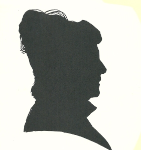 Silhouet en profil van Marianne Andriessen-Canoy, in 1995 getekend door Pieter Wetselaar